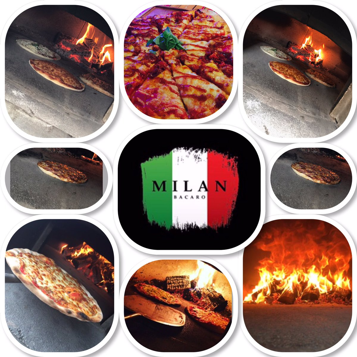 Example of many of the pizzas from our Wood Fired Stone Pizza Oven tod...