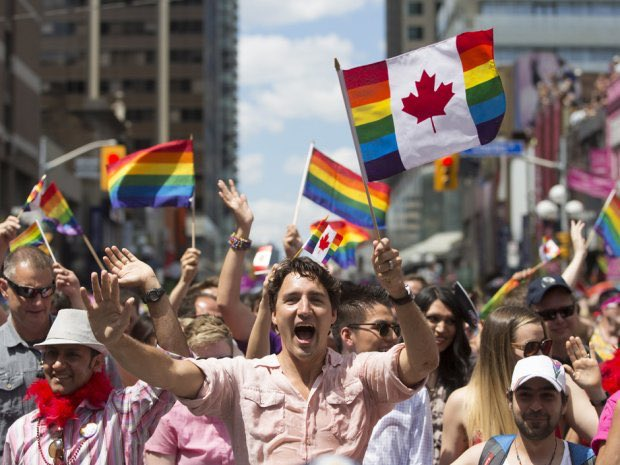This is how the leader of Canada celebrates Pride.  And we're stuck with some fat fuck probably taking a dump in a golf course bathroom now.