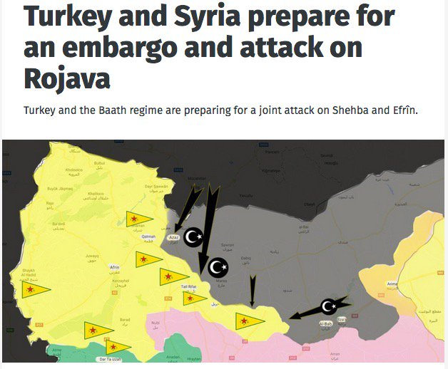 Turkey and Syria prepare for an embargo and attack on Rojava -  https:// anfenglish.com/kurdistan/turk ey-and-syria-prepare-for-an-embargo-and-attack-on-rojava-20600 &nbsp; …  #twitterkurds #Syria #Russia #SAA<br>http://pic.twitter.com/vKhngjKFvh