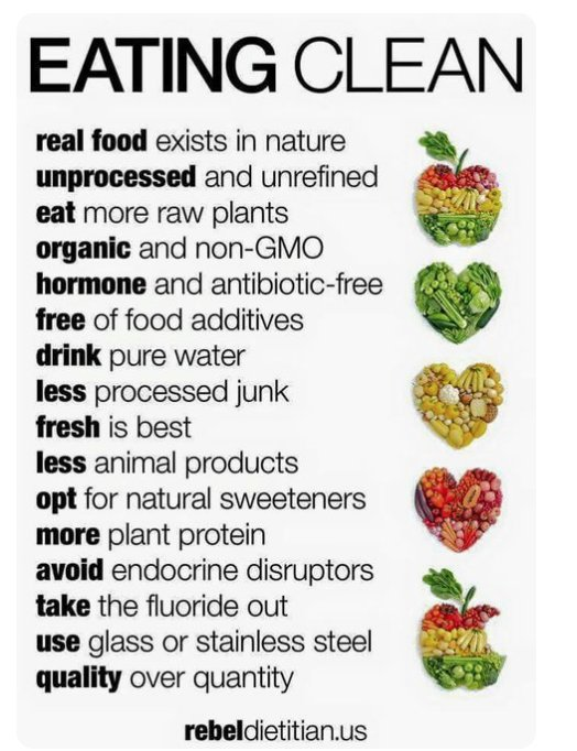 A major component to stay #healthy is to #EatClean. Here are some simple suggestions for #cleaneating<br>http://pic.twitter.com/6R8gM5VhcX
