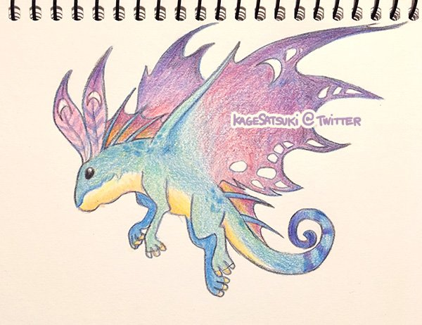 Trying out coloured pencils after over a decade of not even owning any. Fey dwagon. #Warcraft <br>http://pic.twitter.com/trPWl2hp7d