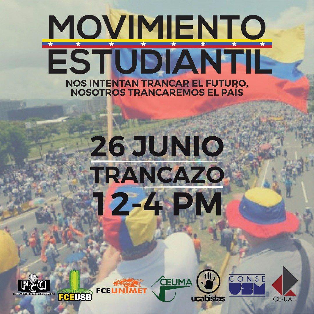 Este #26Jun, acompañamos a los ESTUDIANTES en el #TrancazoEstudiantil...