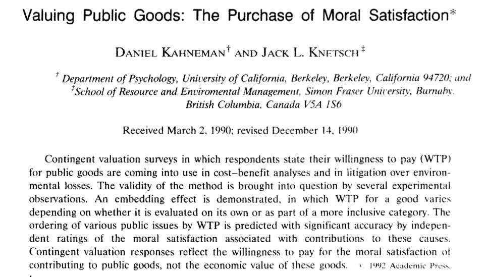 17/Knetsch therefore teamed w/ Kahneman to study embedding effect (how valuation varies w/ batch of goods proposed) https://t.co/K8t3aGcuGf https://t.co/OIuVnMubcX