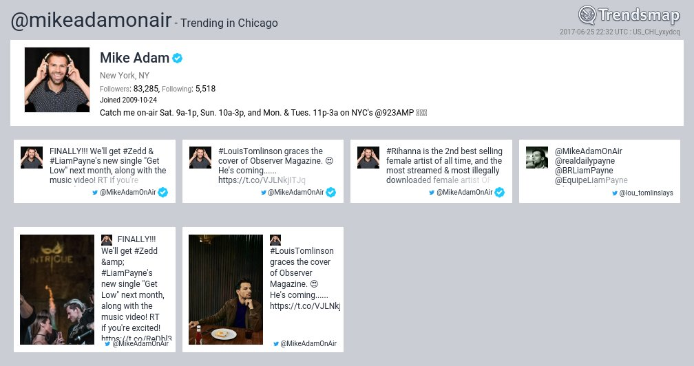 Mike Adam, @mikeadamonair is now trending in #Chicago  https://t.co/FR...