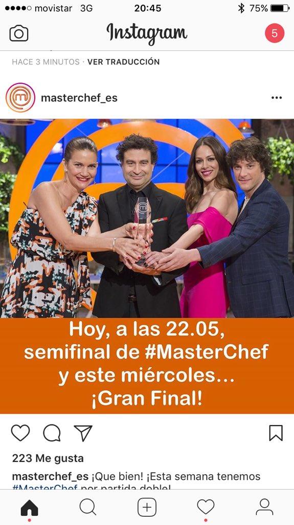 Hoy tenemos semifinal de #MasterChef y este miercoles la gran final! N...