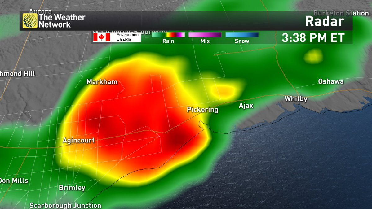 Small hail &amp; lots of it moving into #Scarborough &amp; #Pickering right now, then clipping #Ajax &amp; #Whitby. #onstorm<br>http://pic.twitter.com/0Jlry9S7Yr