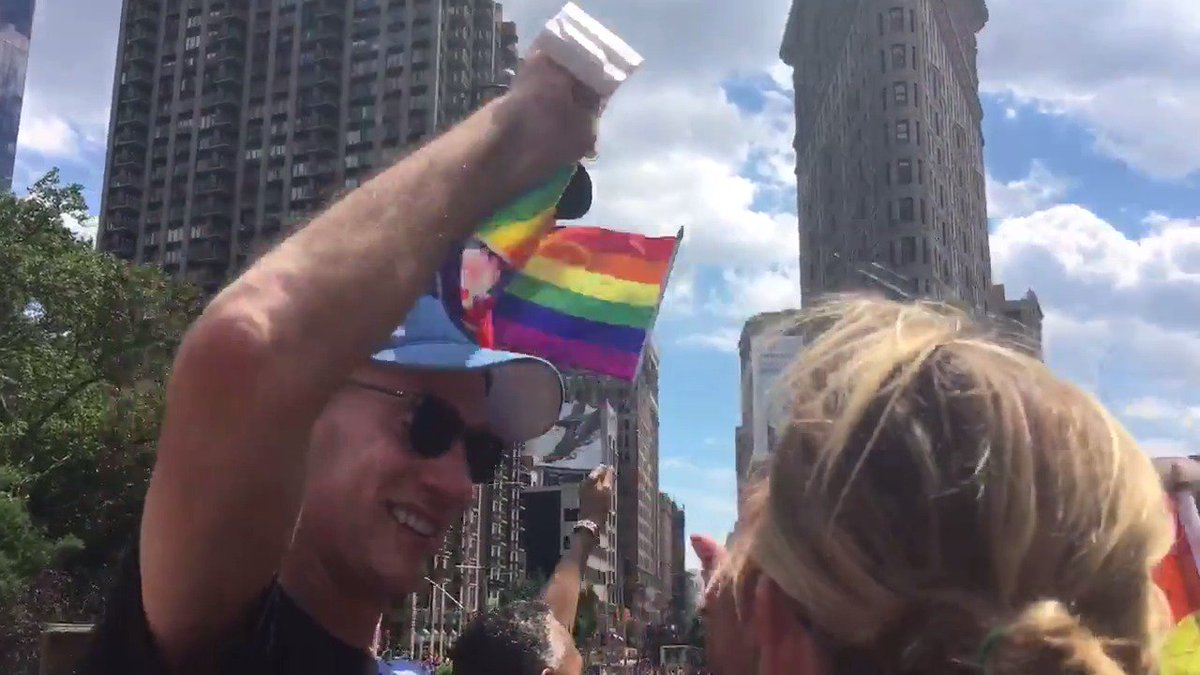 Commissioner Adam Silver getting into the #PrideParade aboard the @NBA...