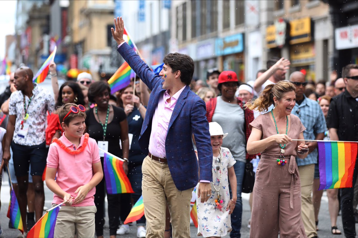 Great day at @PrideToronto w @JustinTrudeau and family #prideTO #Pride...