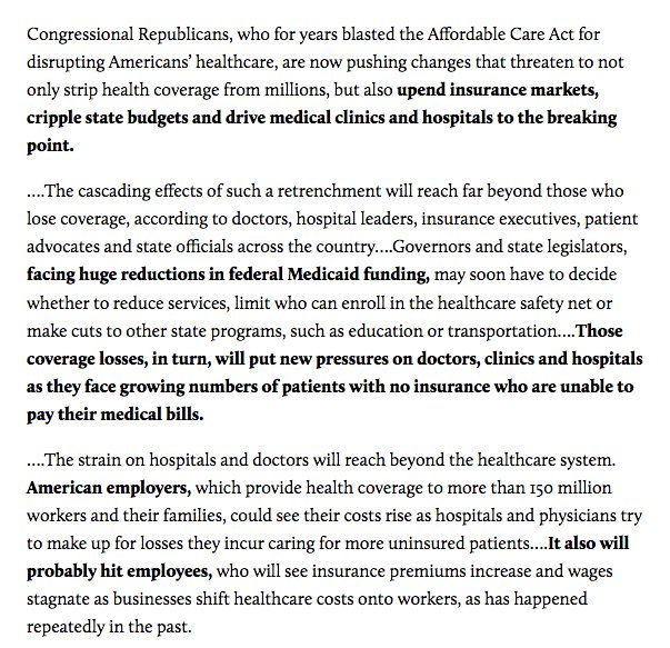 Important: Trumpcare won't just affect those on Obamacare. It'll ripple through entire healthcare system. https://t.co/tGHOyVBdqD