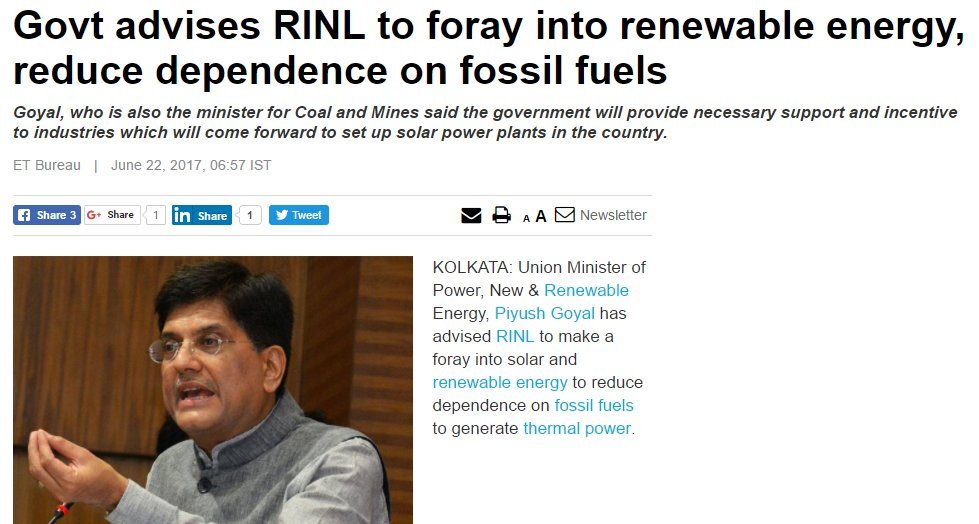 #adani = stranded. India going strongly renewable, no place for high-ash, low-energy Carmichael #coal @mattjcan.   http:// energy.economictimes.indiatimes.com/news/renewable /govt-advises-rinl-to-foray-into-renewable-energy-reduce-dependence-on-fossil-fuels/59262113 &nbsp; … <br>http://pic.twitter.com/vSpcwYOxBL