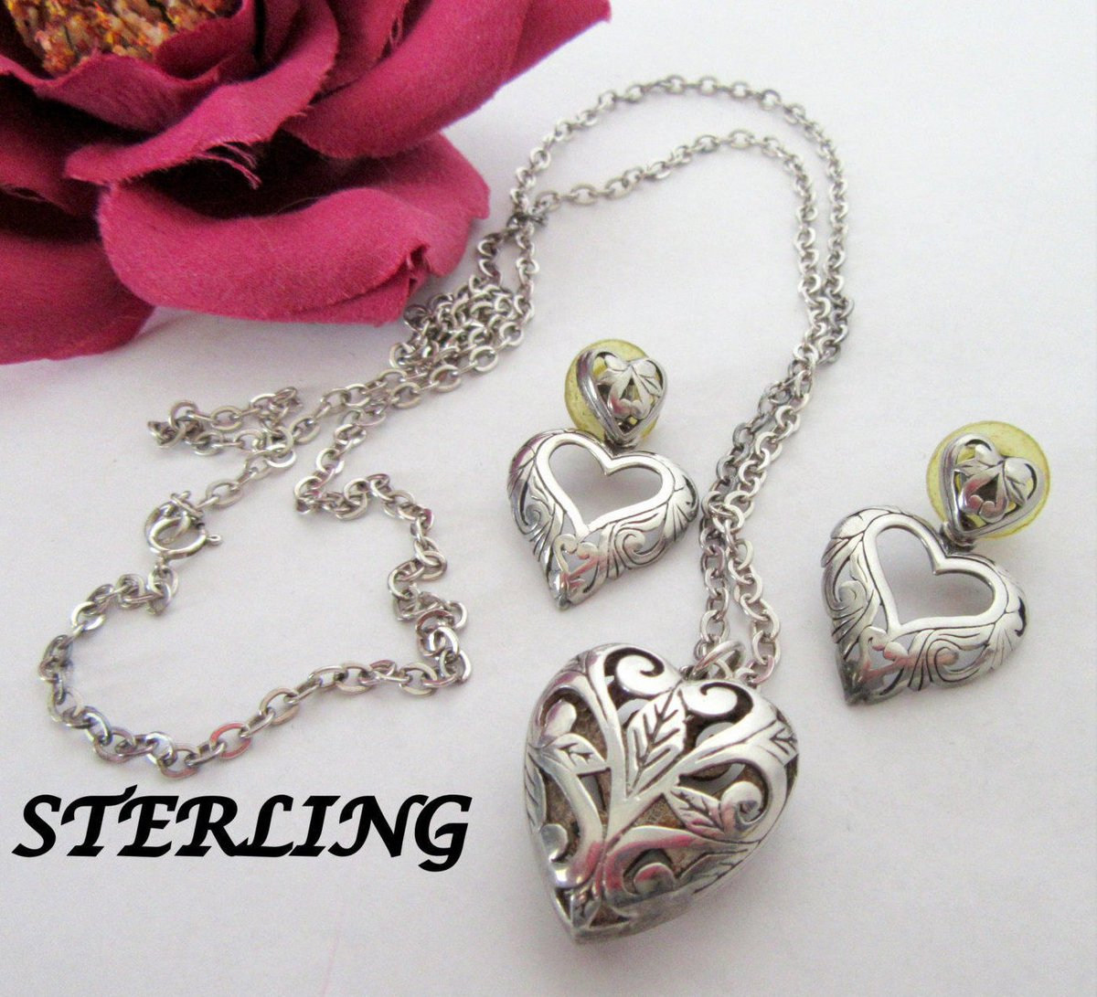 Sterling Heart Necklace Earrings -  Open Work Heart Pendant - Chain Earrings  https:// seethis.co/DALoD/  &nbsp;   #vintage #midcentury <br>http://pic.twitter.com/p2v1HmXlid