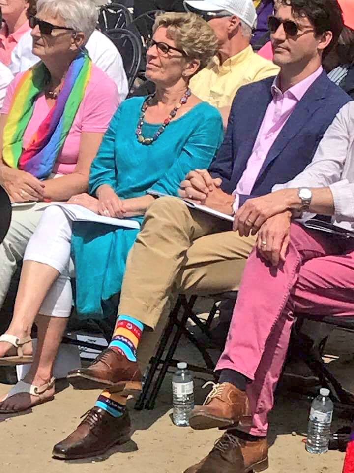 Not just tolerating but celebrating joys of all. #Canada PM #Trudeau wears #Eid  socks &amp; walks with his family in #PrideToronto parade<br>http://pic.twitter.com/Odchn9YxDs