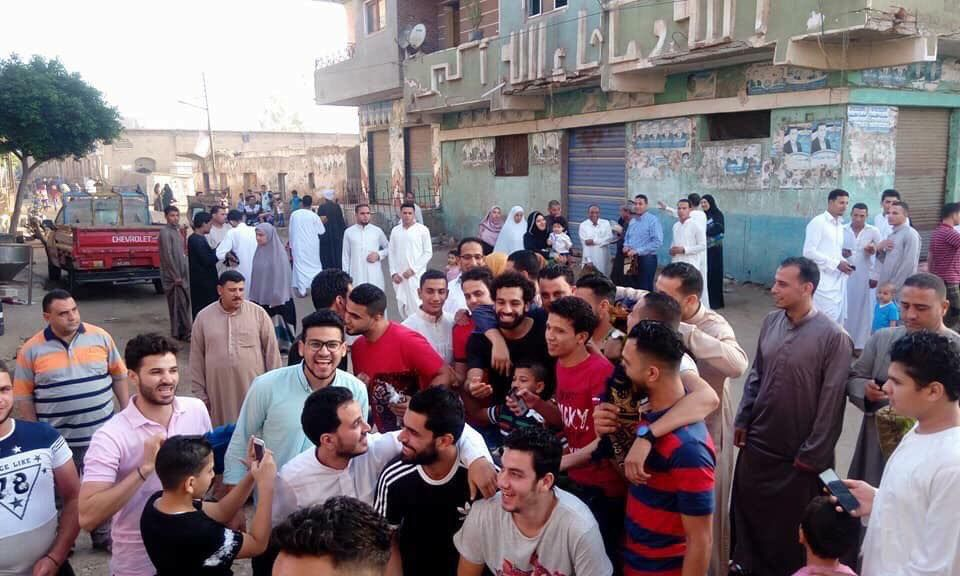 Mohamed Salah celebrating Eid Al Fitr with locals in his hometown of N...