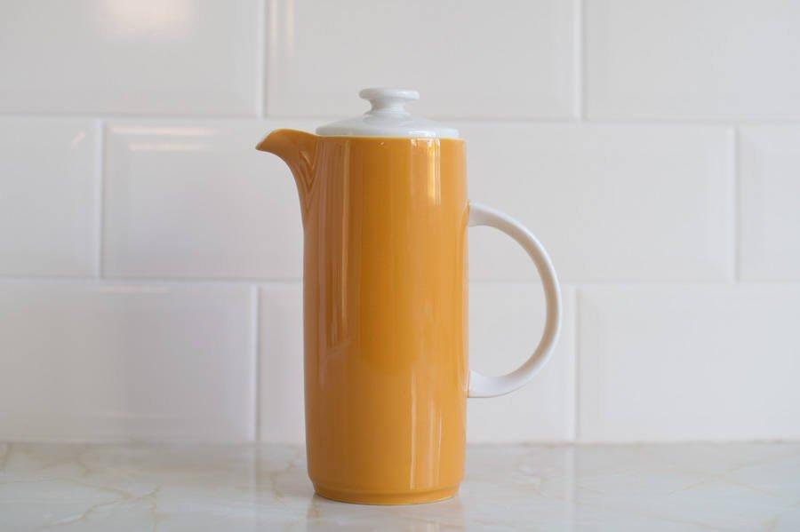 Vintage Retro Orange Coffee Pot - Royal Doulton fine china  http:// tuppu.net/74cb3d2a  &nbsp;   #Etsy #MidCenturyModern <br>http://pic.twitter.com/UGHwdyDAb8