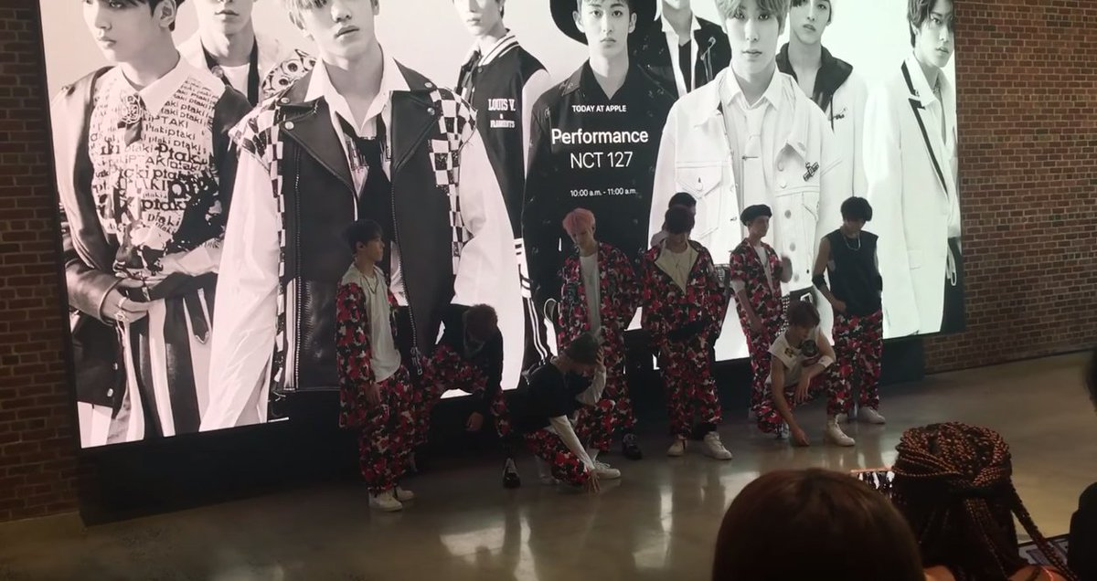 NCT 127 perform at an Apple store in Brooklyn, NY https://t.co/gOvL1aO...