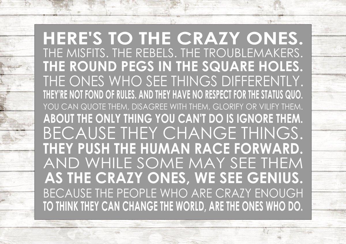 Here&#39;s To The Crazy Ones quote Steve Jobs #UKBiz #atsocialmedia #eshopsUK #tweetuk #smallbiz #kprs  #FlockBN #87RT  http:// ow.ly/H84E300UzXy  &nbsp;  <br>http://pic.twitter.com/h0NgyCIii5