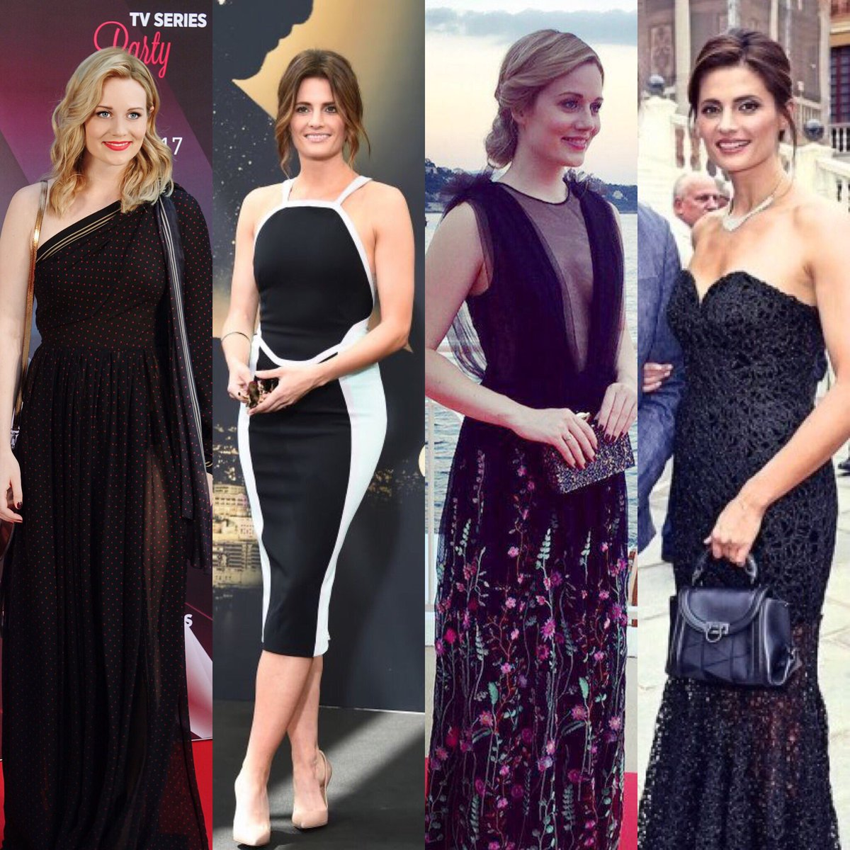 Which of these looks do you like best?? 👀 👯 @Stana_Katic @CaraTheobold...