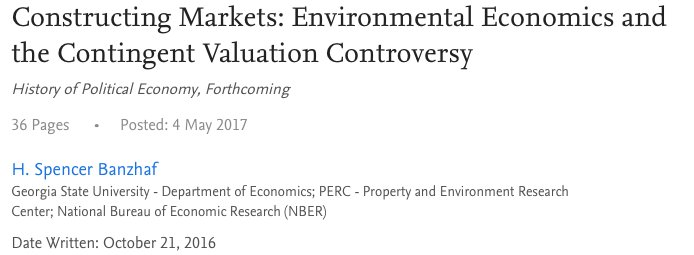 6/ Longstanding disagreement on measurement of non-use value of public/env. goods is documented by Spencer Banzhaf https://t.co/zLO064jwjH https://t.co/qWUCbbHHwL