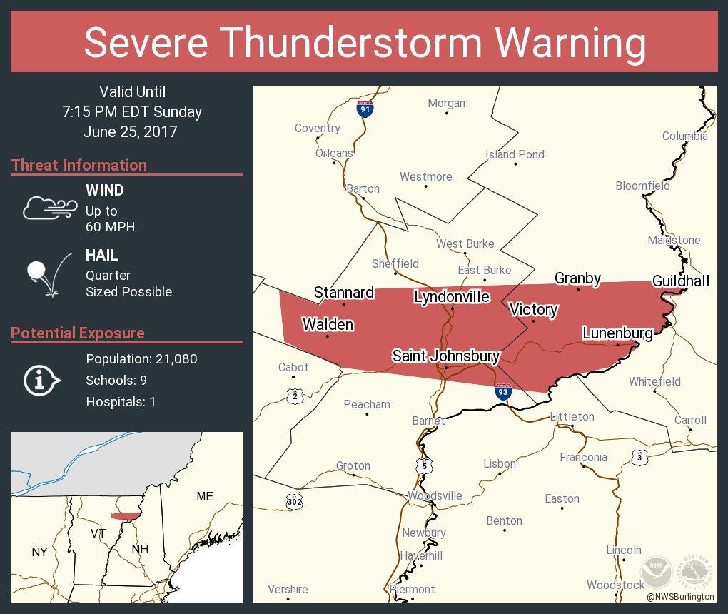 test Twitter Media - Severe Thunderstorm Warning including Saint Johnsbury VT, Lyndonville VT, Danville VT until 7:15 PM EDT https://t.co/7OevvN3WU1