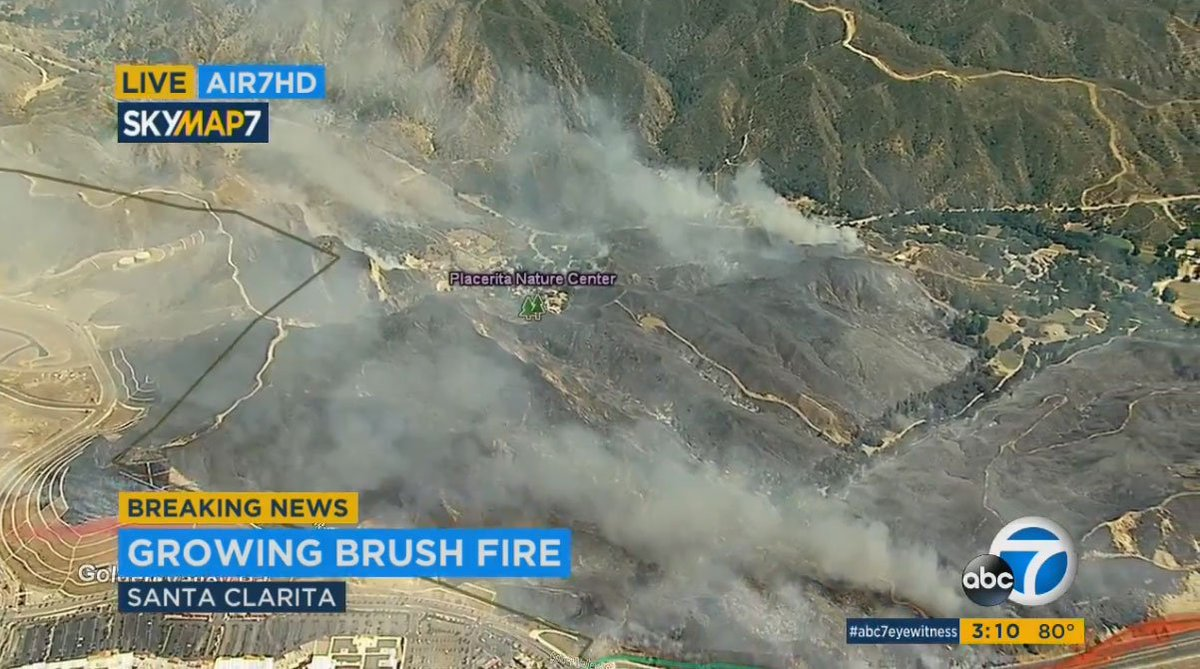 #LIVE: Few flames spotted as firefighters continue to battle #Placerit...