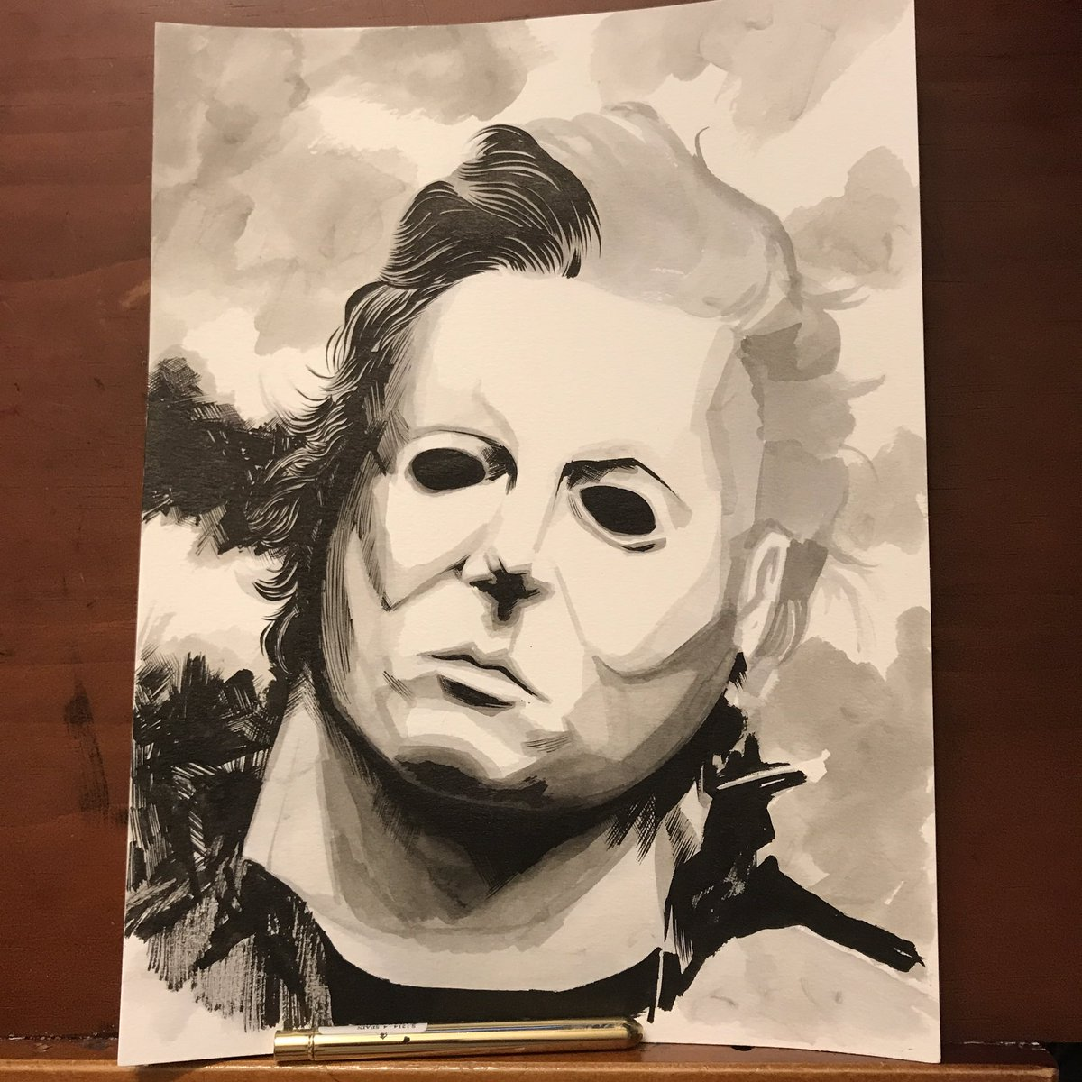 #michaelmyers #wip #commission just a warm up before I start some pages. #makecomics<br>http://pic.twitter.com/Qin2ov6P2S