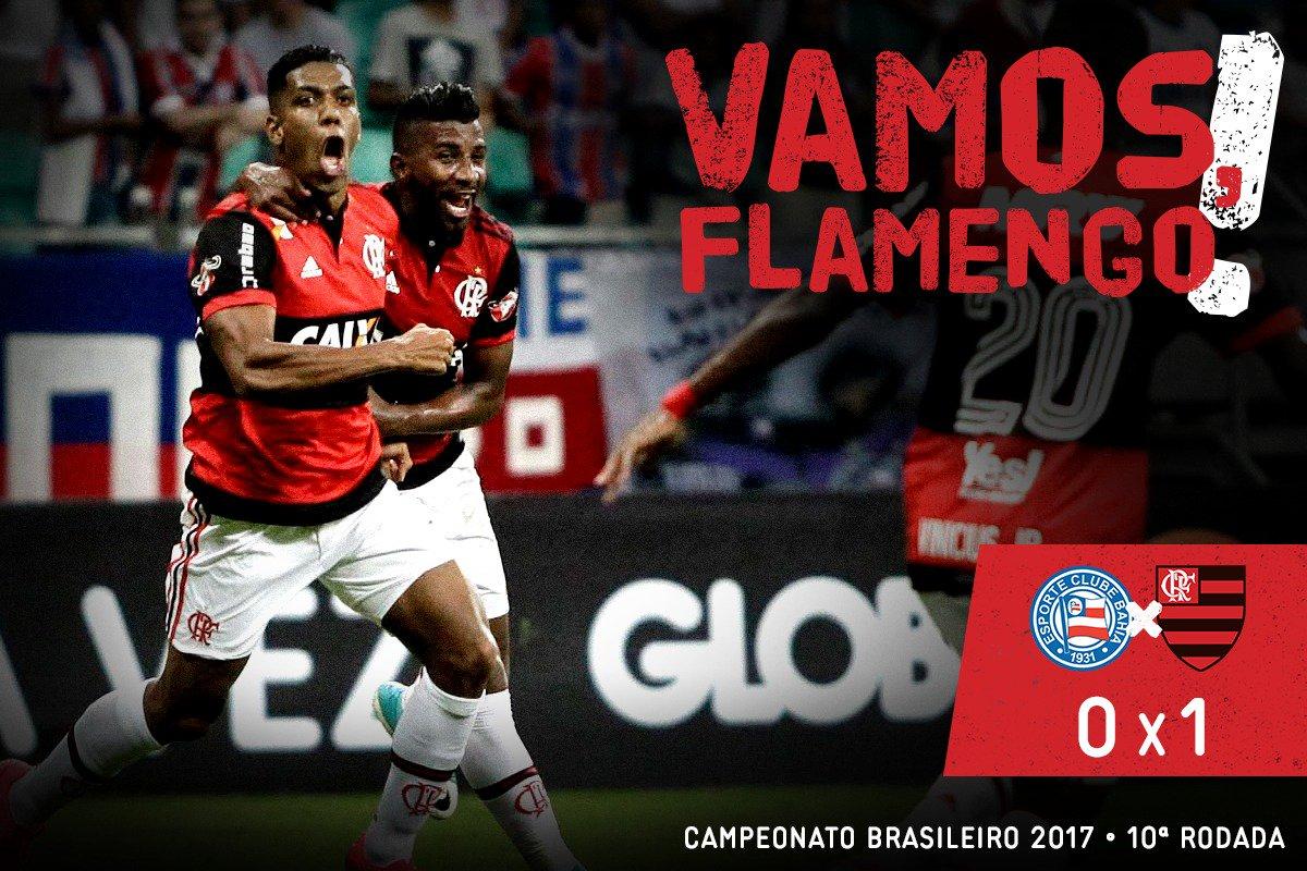 Deu Mengão na boa terra! Vencemos e entramos no G-4 do Brasileirão. 1x0, gol de Berrío #VamosFlamengo #BAHxFLA