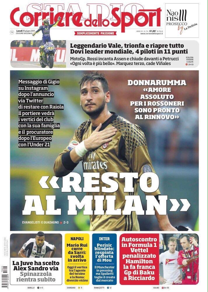 Front page of #CdS:  -&gt; #Juve have chosen  -&gt; #AlexSandro out [to #CFC]  -&gt; #Spinazzola returns immediately  + on #Gigio #Donnarumma saga<br>http://pic.twitter.com/Z6ouIAxPaj