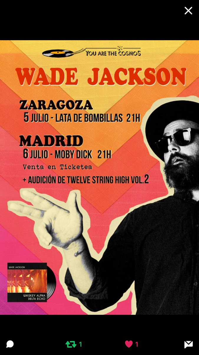Next week I&#39;ll be en route for the Spain shows. Please come say &quot;Hola&quot;. @YATCosmos #madrid #Zaragoza @MobyDickClub @LATADEBOMBILLAS<br>http://pic.twitter.com/gMfBBpk77C