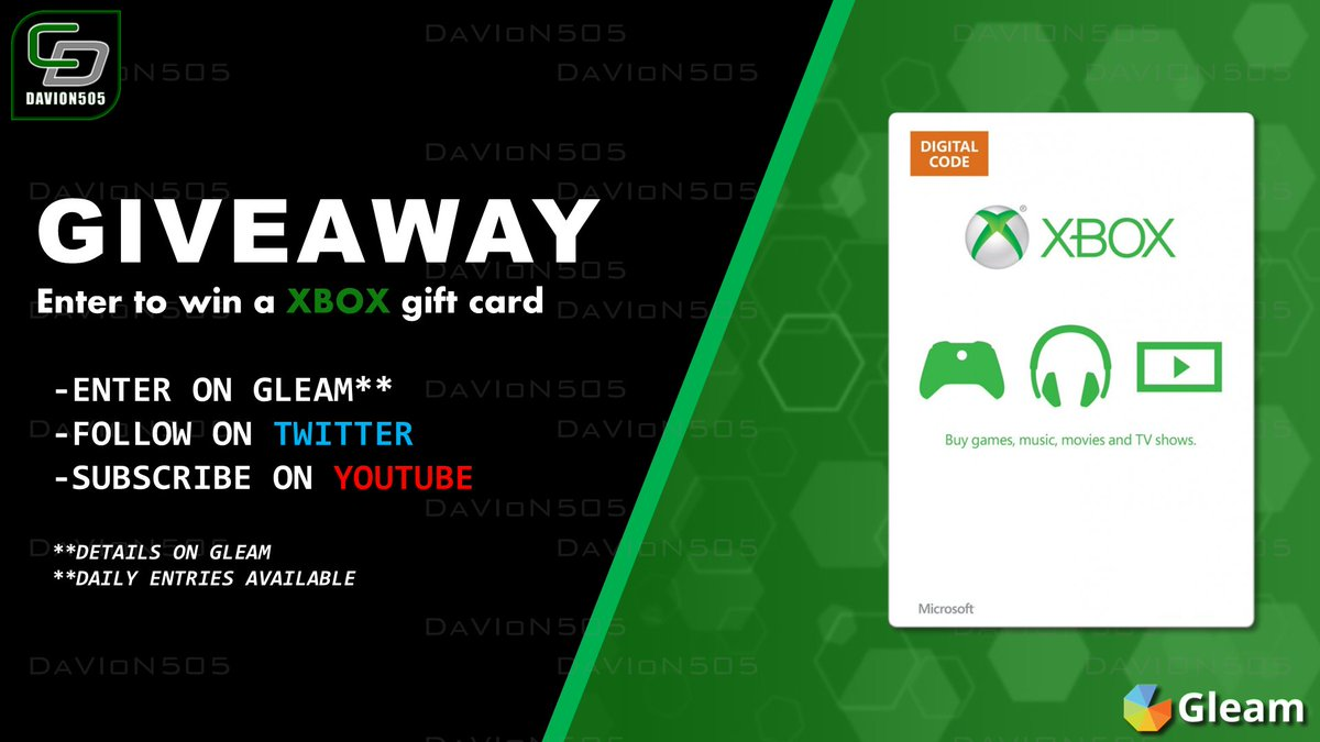 Ending this week! Help me grow my #YouTube channel &amp; enter June&#39;s #giveaway to #win a #Xbox Gift Card! #Gaming  https:// gleam.io/jq4Dq/davion50 5s-giveaway-for-june-2017 &nbsp; … <br>http://pic.twitter.com/KiaF55PQm4