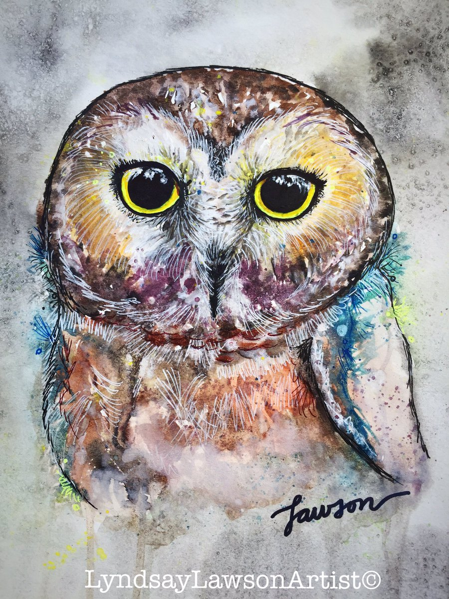 &quot;NORTHERN SAW WHET OWL&quot; Watercolor and Ink  #art #artinmyheart #watercolor #ink #modern #homedecor #owl #ygk #ygkar #happy #kunst<br>http://pic.twitter.com/Fyu7uv9YgY