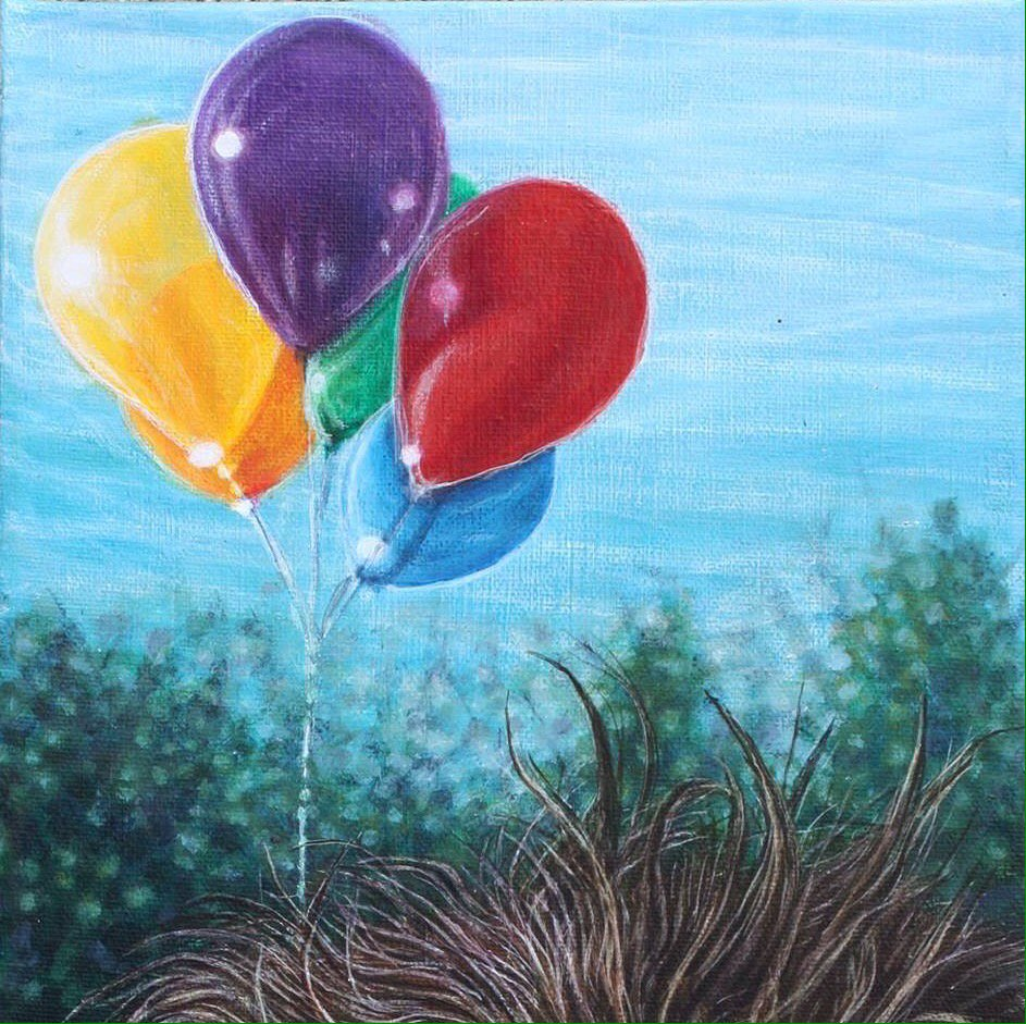 Rainbow balloons #closeup #artwork  http:// etsy.me/2aHHZnt  &nbsp;   #cdnart #pride2017  #detail #etsy #smallpainting #colorful<br>http://pic.twitter.com/6gwC96amau