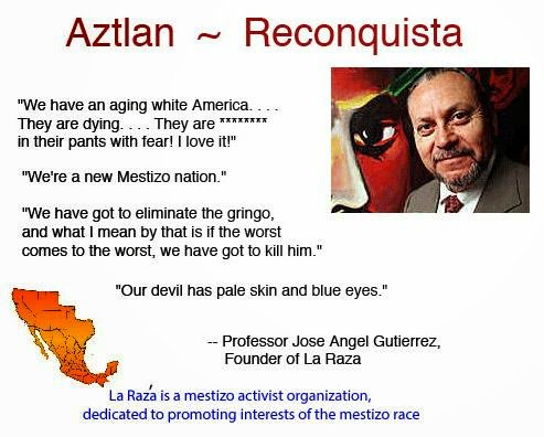 Founder of La Raza declares war on white people.  #AltRight #MAGA #BuildTheWall #LaRaza #Immigration #Mexico #ProudBoys #LDS #SBC17<br>http://pic.twitter.com/tN9uBGSv3x