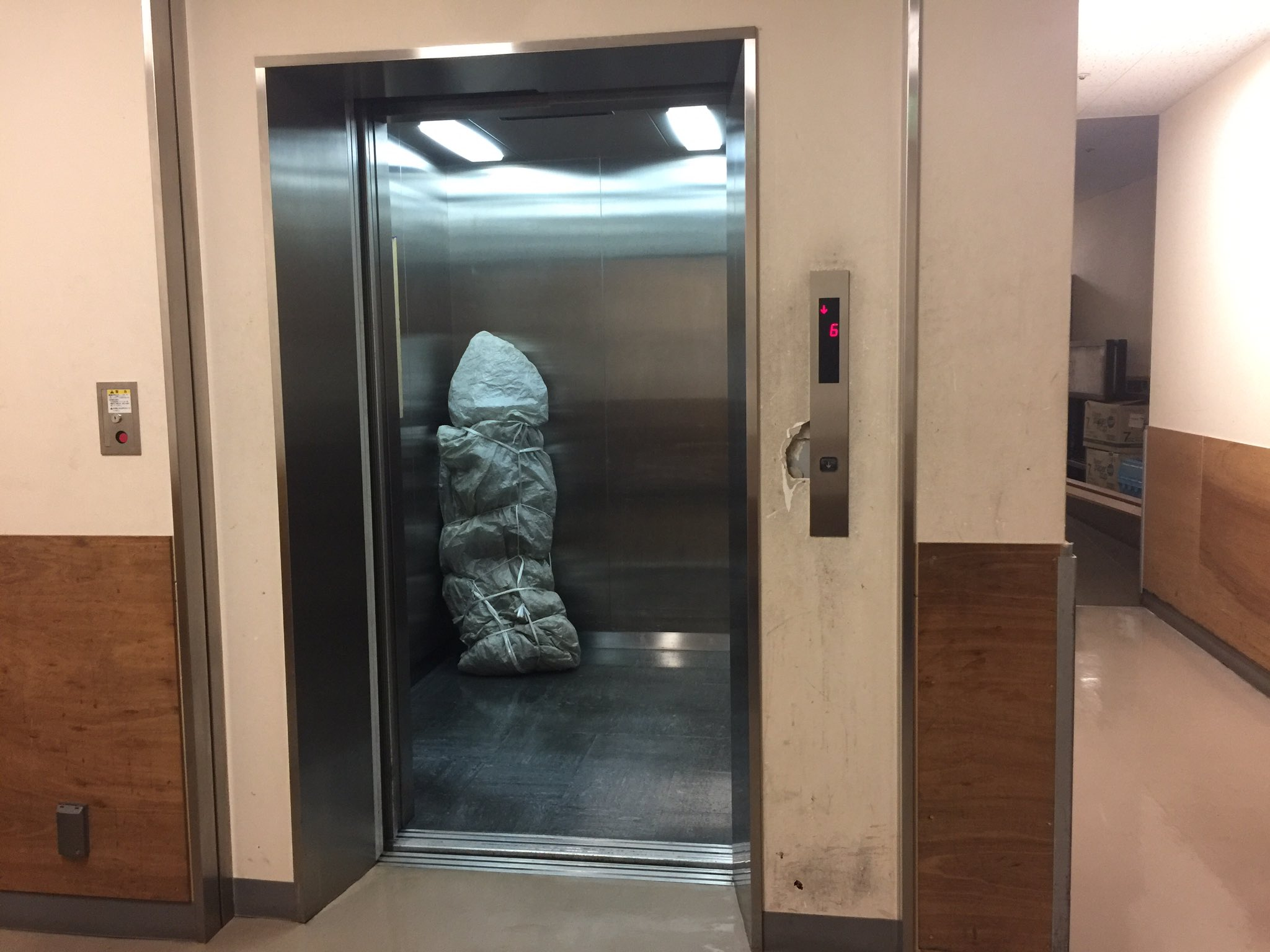 エレベーターで運搬中の梱包された着ぐるみが怖すぎる