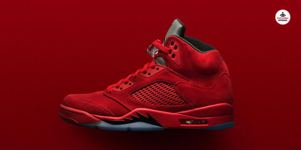 Flight Suit.  The Red Suede Air #Jordan 5 Retro arrives in stores and online Saturday.   Release Details:  http:// bit.ly/WOo74k  &nbsp;  <br>http://pic.twitter.com/mHOm0yEO9f