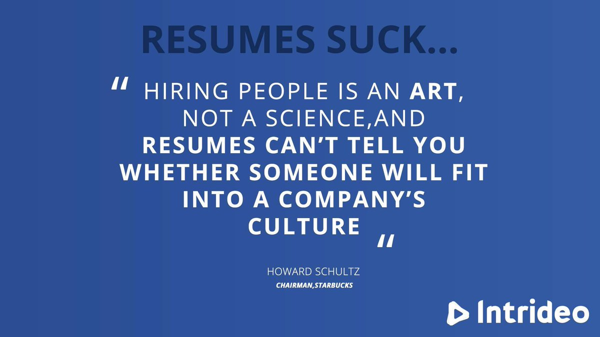 Resumes can&#39;t tell you whether someone will fit into a company&#39;s culture. #intrideo #hr #startup #Recruiting<br>http://pic.twitter.com/Lo4Qj0w8G4