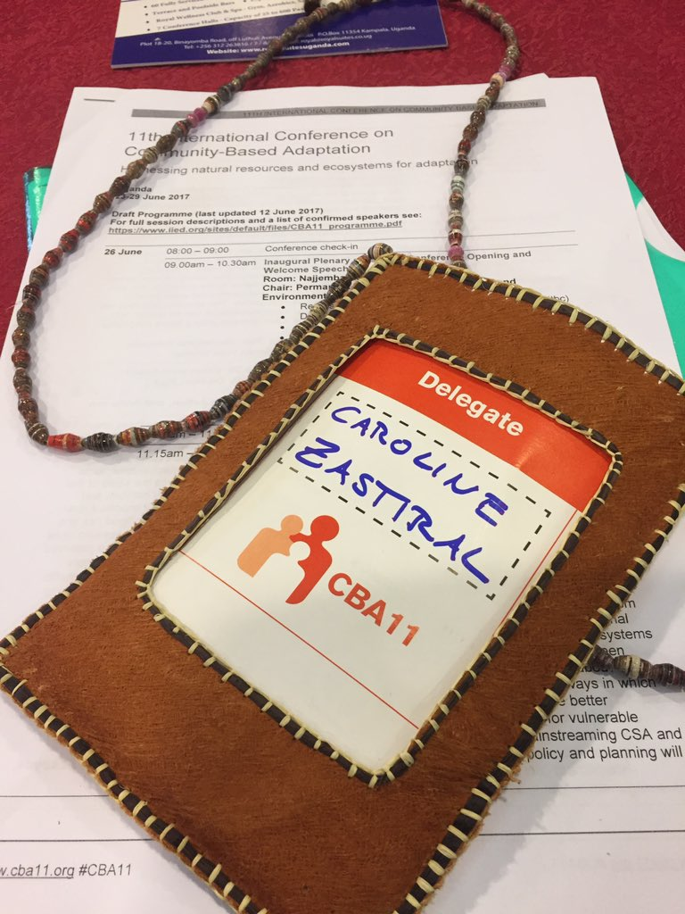 Walk the talk - nice badge made of recycled paper and bark #CBA11 #Naturepalacefoundation https://t.co/B258hAoaNj