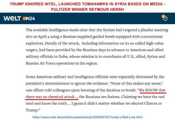 OFFICIALTrump ignored intel, launched Tomahawks in #Syria based on media – Pulitzer winner #SeymourHersh  Source: https://www. welt.de/politik/auslan d/article165905578/Trump-s-Red-Line.html &nbsp; … <br>http://pic.twitter.com/ooBO8eEocz