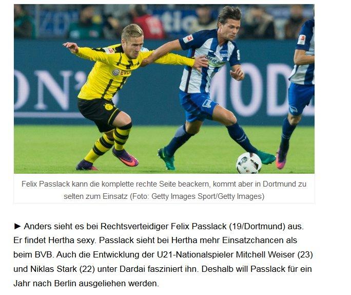 Felix #Passlack (19), latéral droit allemand du #Borussia Dortmund, pourrait être prêté au #Hertha Berlin selon le Berliner Zeitungpic.twitter.com/yTFuPelnev
