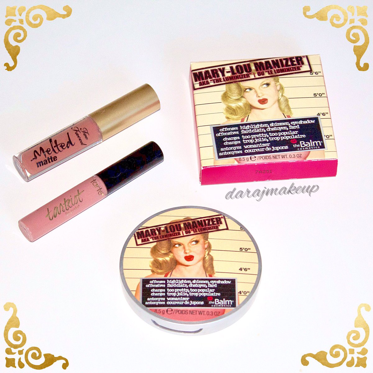 These products give me lifeeeee #makeupaddict #toofaced #tarte #thebalm #highlight #lipstick #danimansutti #youtube #darajmakeup<br>http://pic.twitter.com/4o1NaEkc9Z