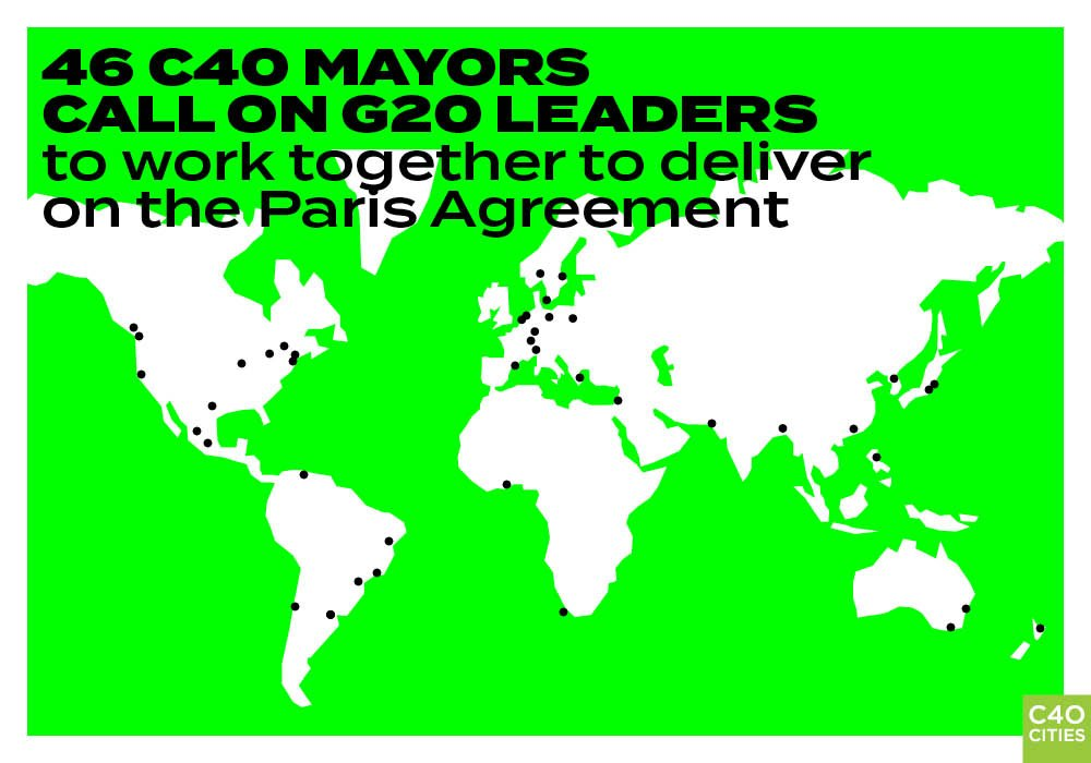 46 C40 Mayors call on G20 leaders to work together to deliver on the #ParisAgreement and #SaveOurPlanet:  https:// goo.gl/3U1g5U  &nbsp;  <br>http://pic.twitter.com/gM8k8yXQzj