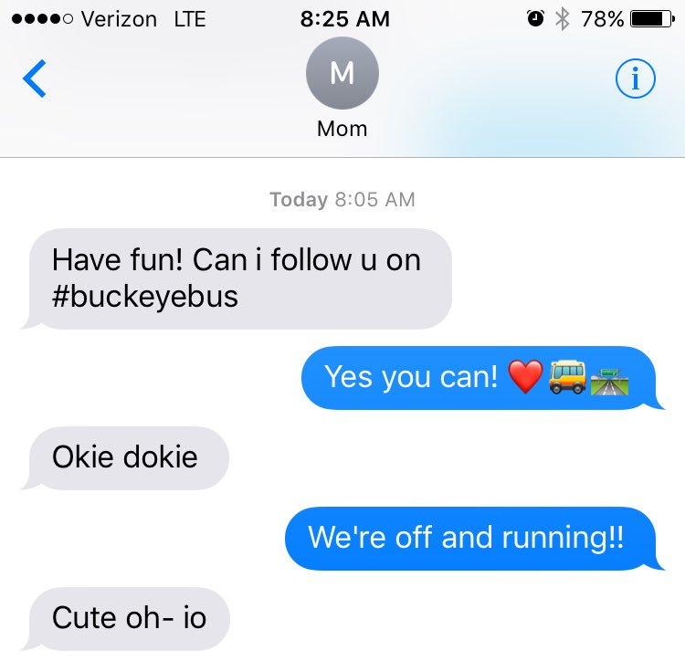 When even your mom is #OhioStateTour trained! #buckeyebus 🚌🚌🚌 https://t.co/nGMnmt0SMN