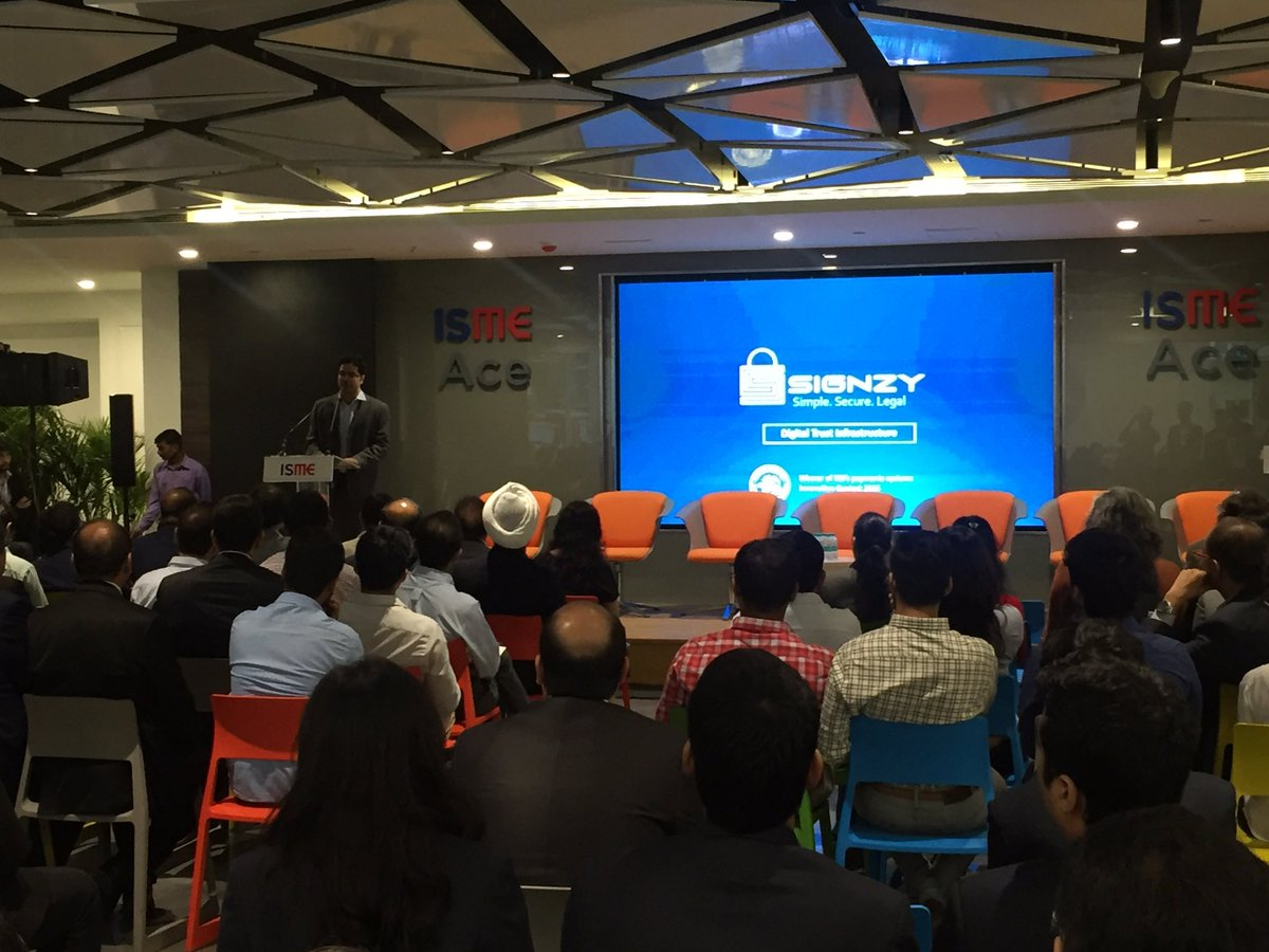 @TeamSignzy presenting at @ismeace launch event. #YESFINTECH #Accelerator <br>http://pic.twitter.com/BrmmO9HiIo