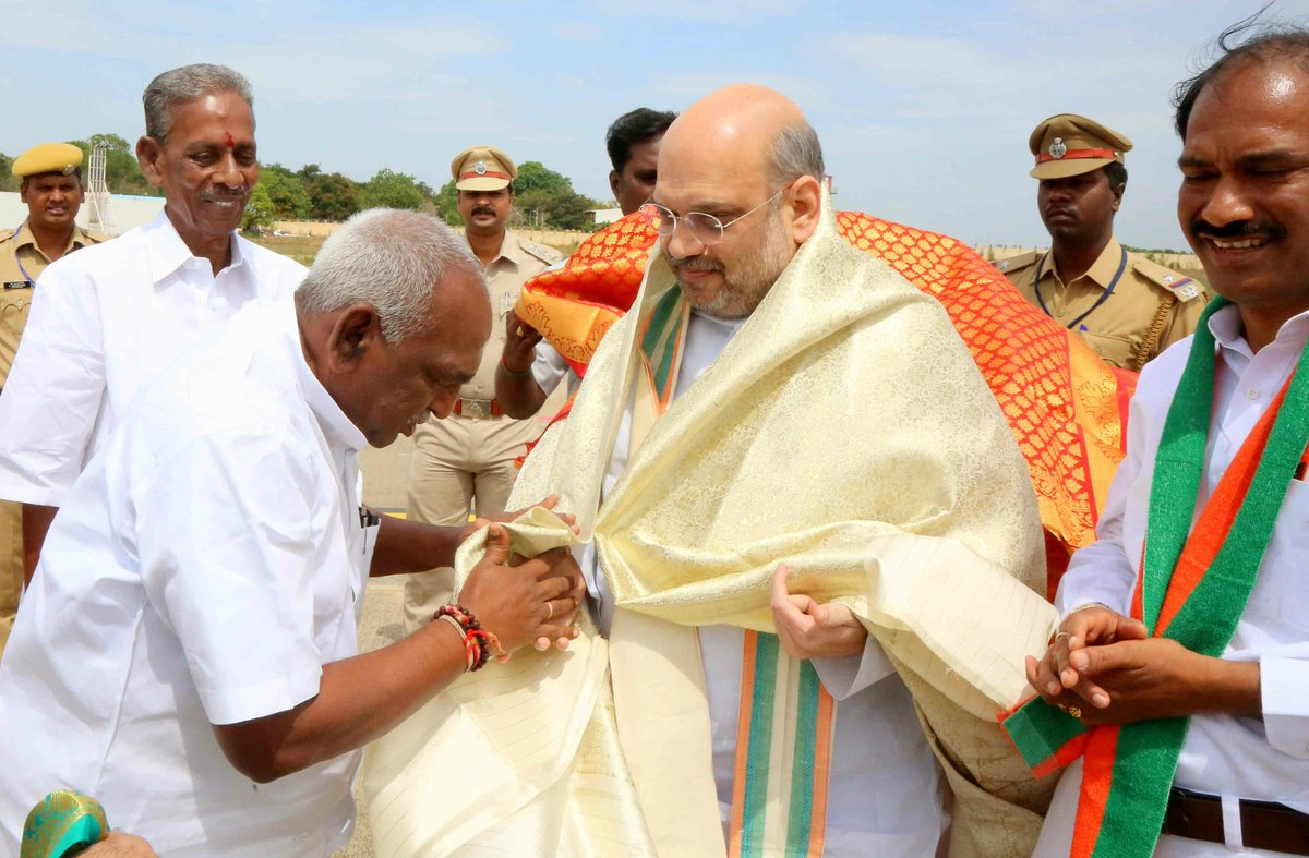 Glimpses of BJP National President Shri @AmitShah's grand reception on his arrival in Puducherry.