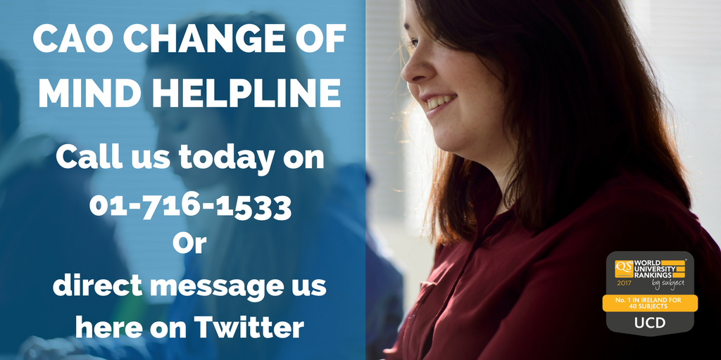 Got a question about applying to #UCD? Our #CAO Helpline is open until 5.00pm today so call us on 01 7161533 #WhyUCD<br>http://pic.twitter.com/4pIvGzxt5a