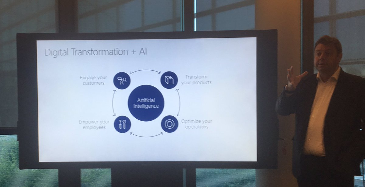 #DigitalTransformation + #AI : -engage your customers -transform your products -optimize you operations -empower your employees @microsoft<br>http://pic.twitter.com/uYB1o6HkWe