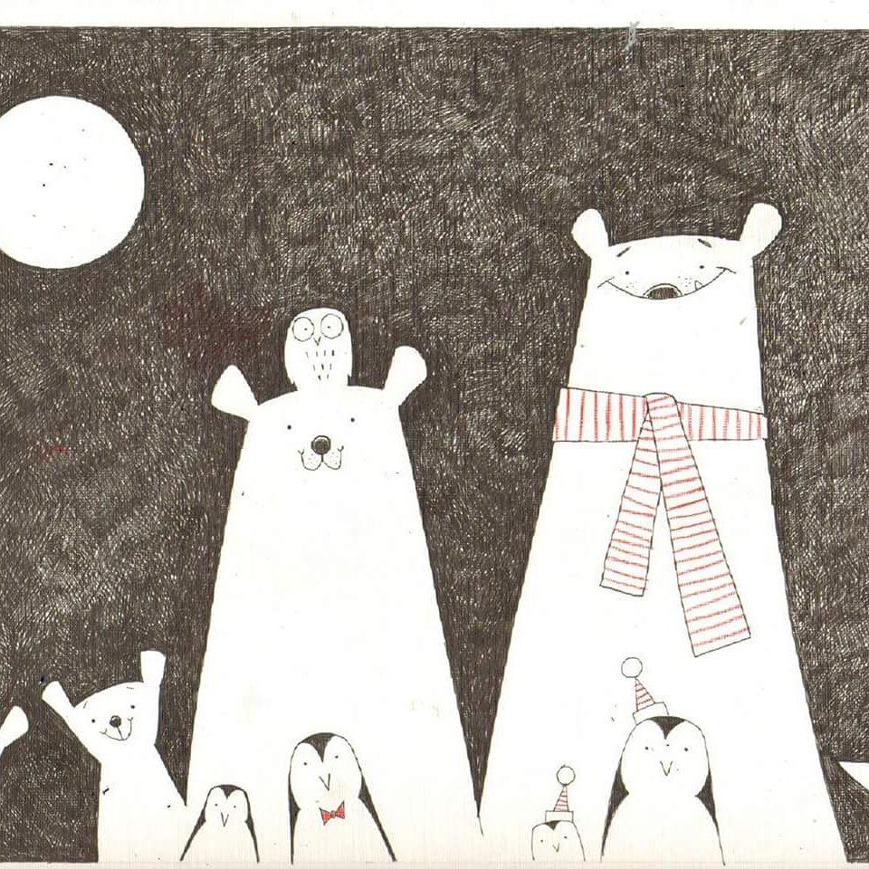 Polar bears, penguins, Fox and owl #polarbear #penguin #fox#Owl #ink#illustration #kidlitart #ChildrensBooks<br>http://pic.twitter.com/VMw023FVrt