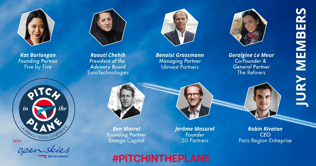 Discover our 7 jury members for #PitchInthePlane! Today, they will  listen to 7 startups pitches during a #Paris-#NYC @OpenSkies flight<br>http://pic.twitter.com/B5RJdKV5yE