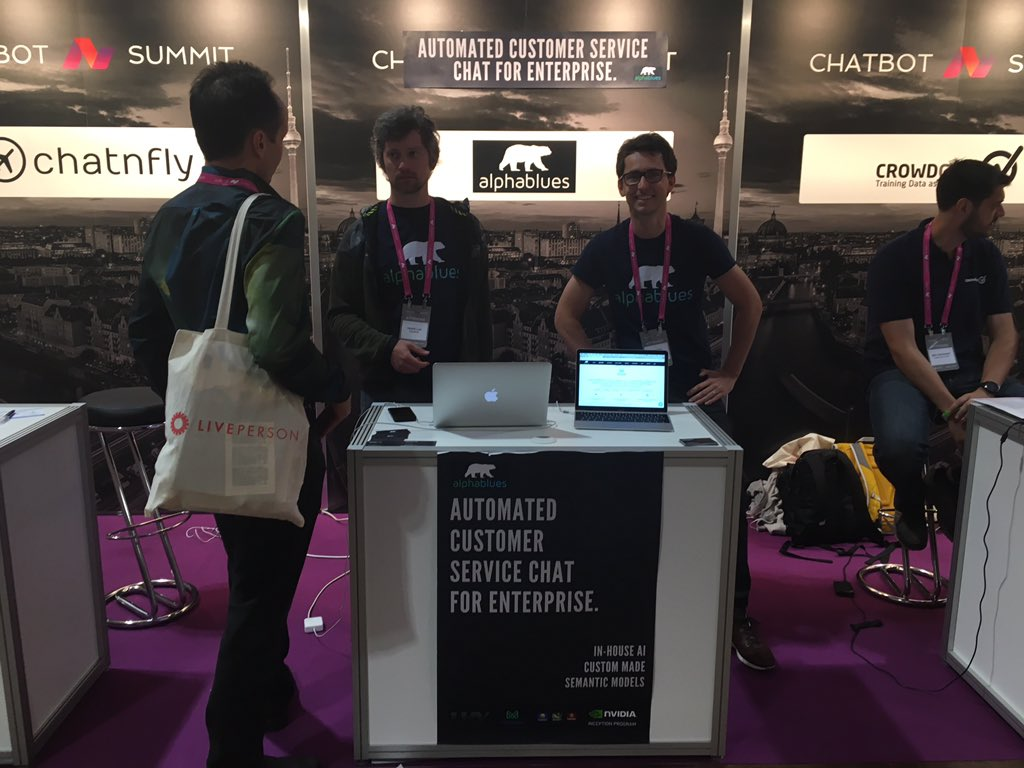 for your customer service automation  needs ask the @alpha_blues guys in the #polarbear shirts #ChatbotSummit<br>http://pic.twitter.com/SjkkPAChah