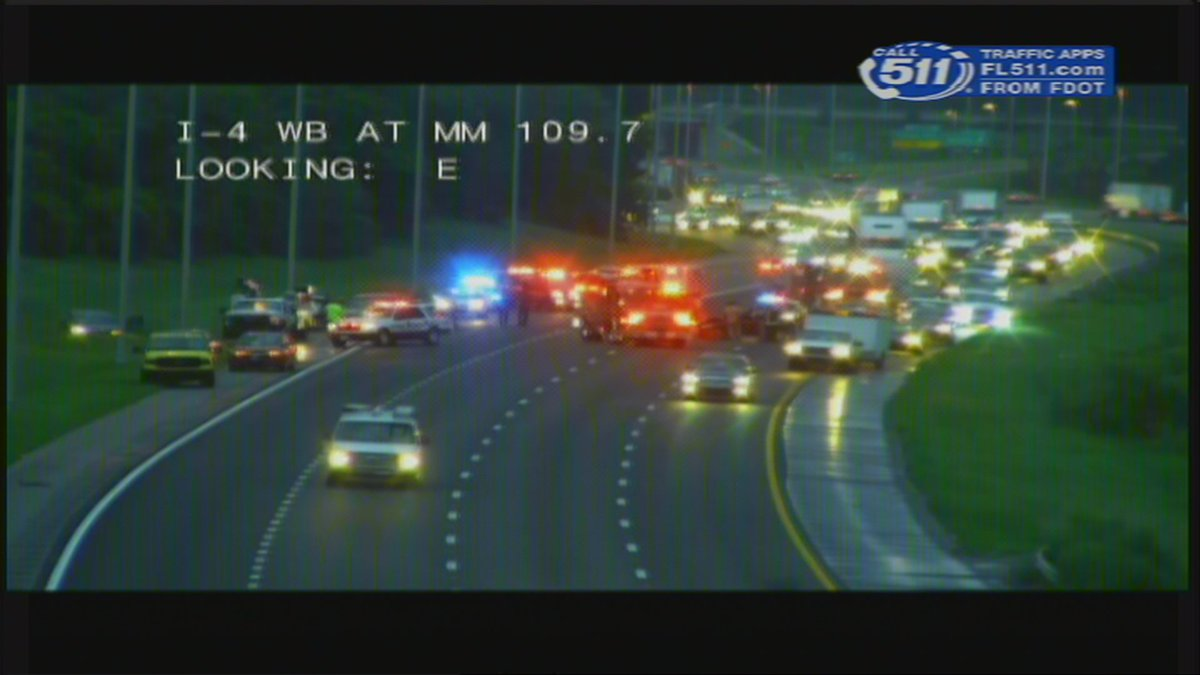 #Breaking - #I4 w/b is closed near Saxon Blvd - MM-110 for a  #Crash  Periodically, troopers are allowing traffic to pass on shoulder.<br>http://pic.twitter.com/7RH3pN36eB