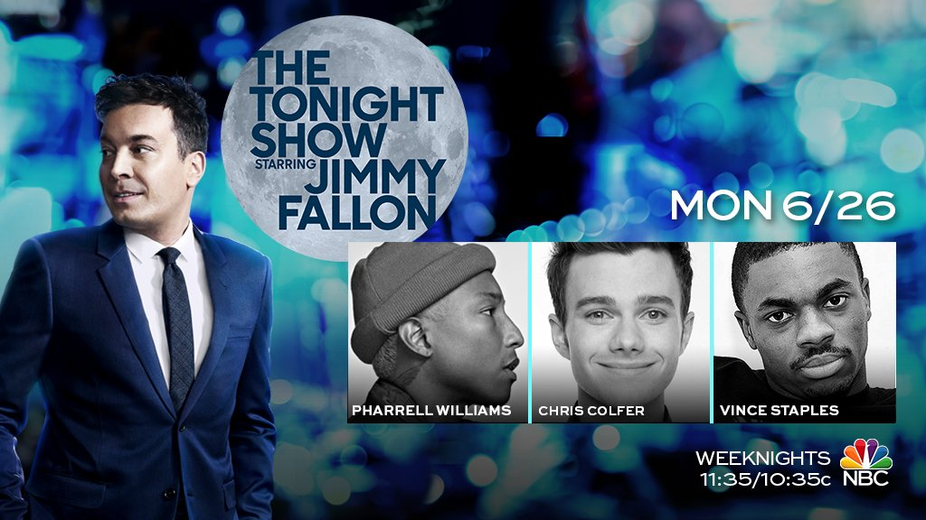 Tonight we have @Pharrell Williams, @chriscolfer & music from @vin...